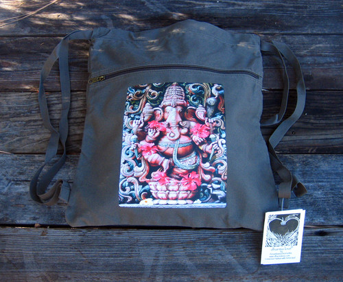 Ganesh (Hindu God) Boho Cotton Canvas Cinch Backpack