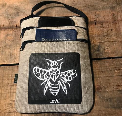 Bee Love (Block Print) Hemp 3Zip Cross Body Bag/Purse
