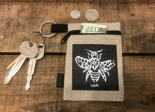 Bee LOVE Hemp Key Coin Purse/Pouch