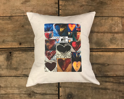 Love, Amore Agape (heart collage) Handcrafted Pillow