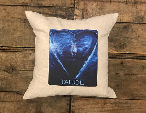 Blue Heart in Tahoe Handcrafted Pillow