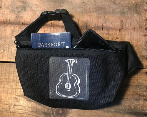 Guitar (Block Print) Hemp Hip Pack & Cross Body Bag