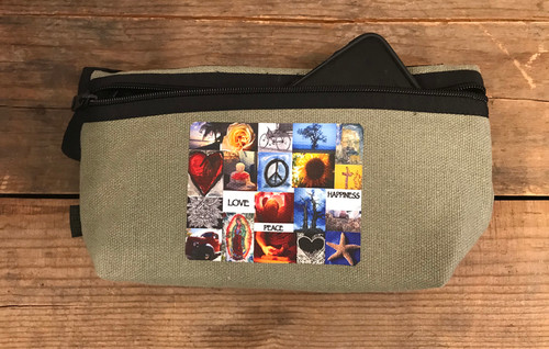 Love, Peace & Happiness Hemp Hip Pack & Cross Body Bag