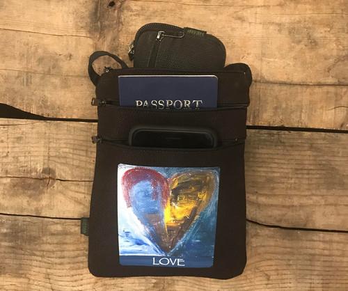 Heart of a painter hemp 3 zip Cross Body Bag/Purse