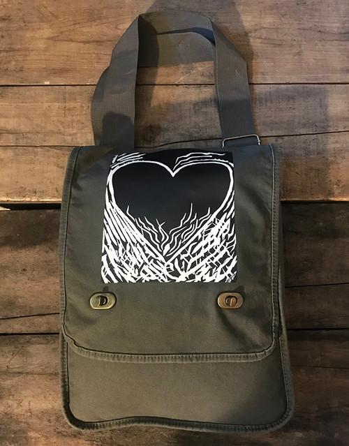 Flaming Heart of Love (woodcut) Cotton Canvas Field/Messenger Bag