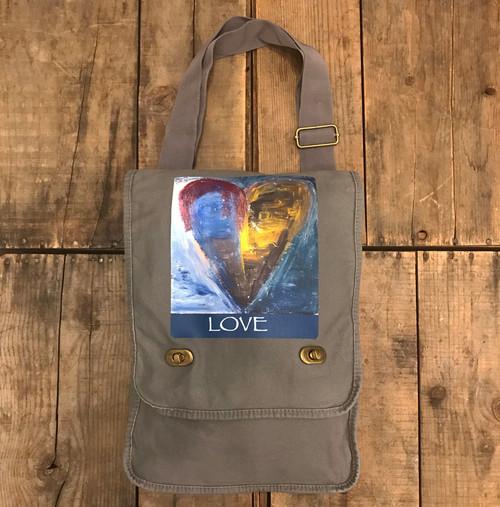 Heart of a painter Cotton Canvas Field/Messenger Bag