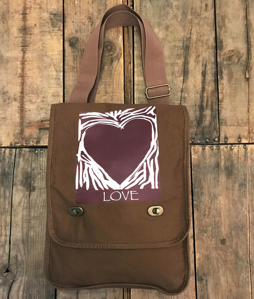 Primal Love (woodcut) Heart Cotton Canvas Field/Messenger Bag