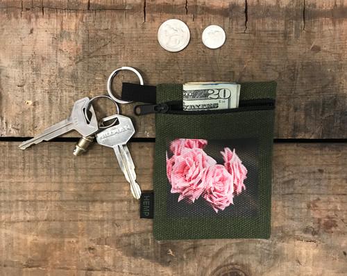 Pink Roses #2 Hemp Key Coin Purse/Pouch
