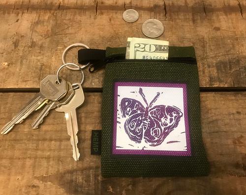 Butterfly (block print) Hemp Key Coin Purse/Pouch