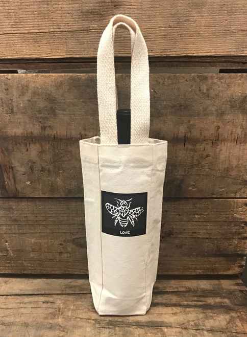 Bee Love Single & 2 Bottle Cotton Canvas Wine/Gift Bag