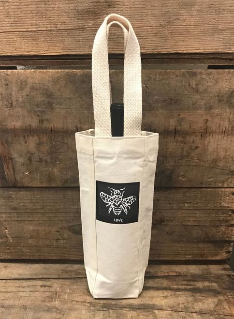 Bee Love Single & 2 Bottle Cotton Canvas Wine/Gift Bag