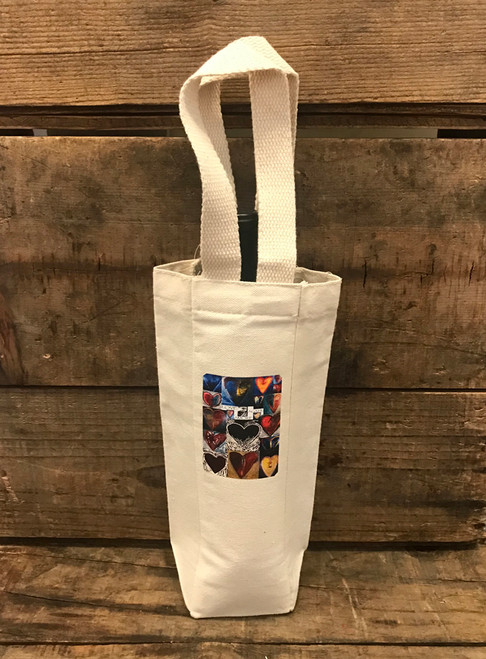 Love, Amore, Agape Heart Collage Single & 2 Bottle Cotton Canvas Wine/Gift Bag