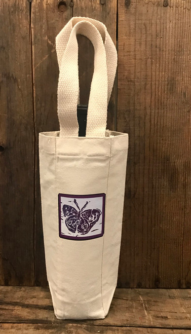 Butterfly Block Print Single & 2 Bottle Cotton Canvas Wine/Gift Bag