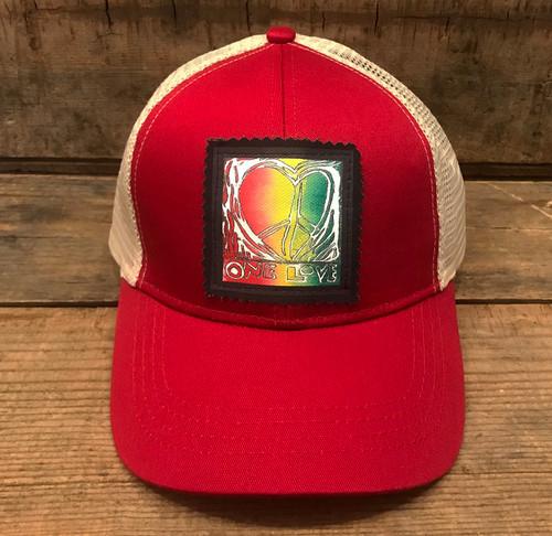 One Love Heart (Block Print) Keep on Truckin' Organic Cotton Trucker Hat