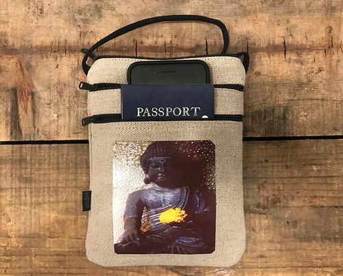 Earth Witness Buddha Hemp 3 Zip Cross Body Bag/Purse