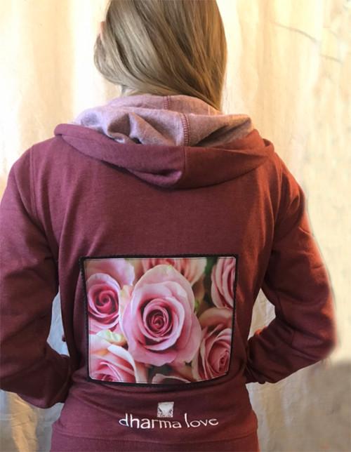 Pink Roses Women's Dharma Bum Organic Cotton/Recycled Polyester Sweatshirt/Hoodie