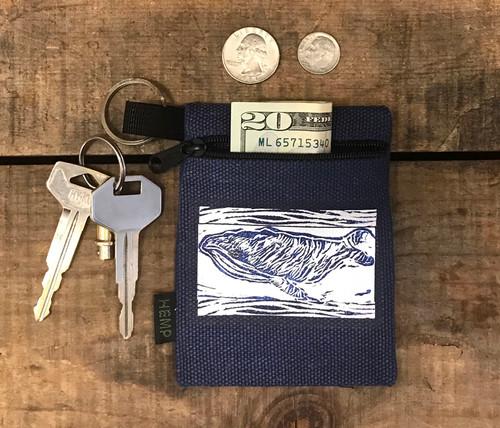Whale (Block Print) Hemp Key Coin Purse/Pouch