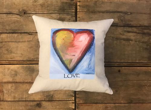 Espiritu de la tierra, Espiritu del mar (Spirit of the land, Spirit of the sea Heart) Handcrafted Pillow