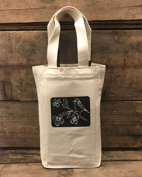 Bird with blossoms (block print) Single & 2 Bottle Cotton Canvas Wine/Gift Bag