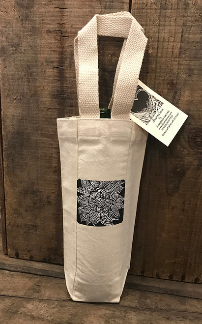 Black Sunflower (Woodcut) Single & 2 Bottle Cotton Canvas Wine Bag