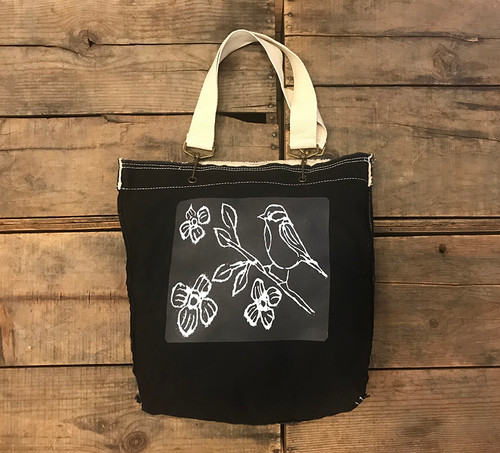 Bird with Blossoms (block print ) Cotton Girly Tote/Purse