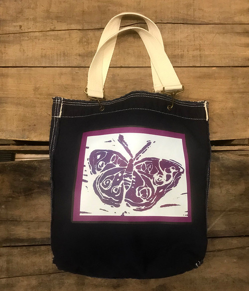 Butterfly (Block Print)Cotton Girly Tote/Purse