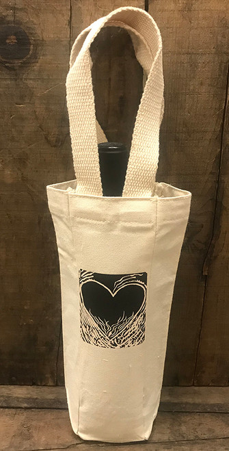 Flaming Heart of Love (woodcut) Single & 2 Bottle Cotton Canvas Wine/Gift Bag