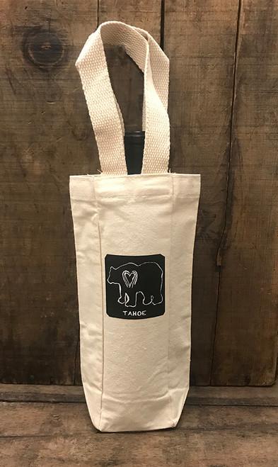 Bear Tahoe (block print) Single & 2 Bottle Wine/Gift Bag