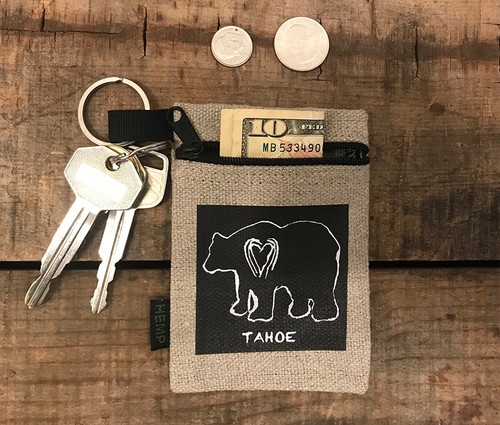 Bear (block print) Tahoe Hemp Key Coin Purse/Pouch