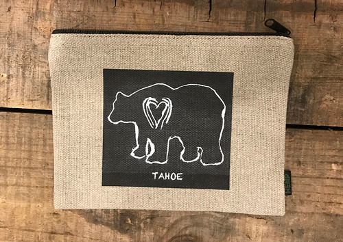 Bear (block print Tahoe Medium & Large Hemp Coin Purse/Pouch