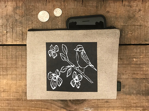 Bird with blossoms (block print) Medium & Large Hemp Coin Purse/Pouch