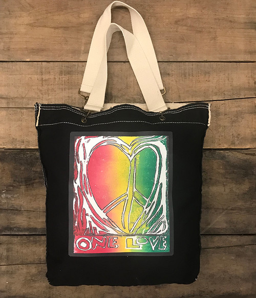 One Love Heart (block print) Cotton Canvas Girly Tote/Purse