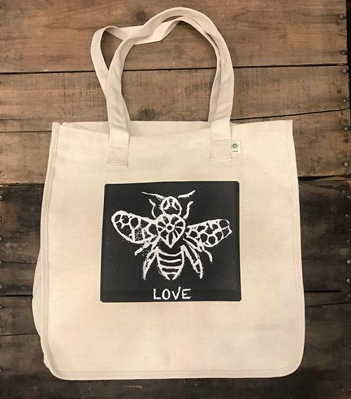 Bee Love (block print) Hemp Tote