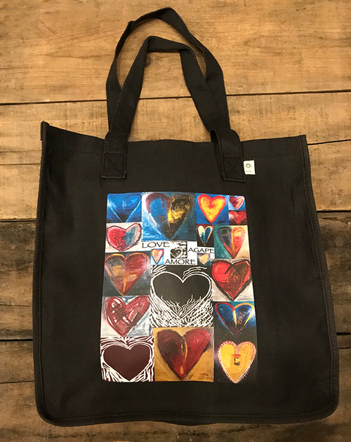 Love, Amore, Agape Heart Collage Hemp Tote