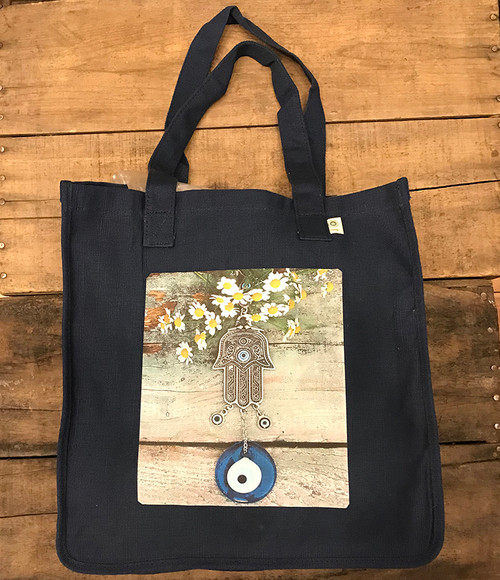 Hamsa with feverfew  (Hand of protection)Hemp tote