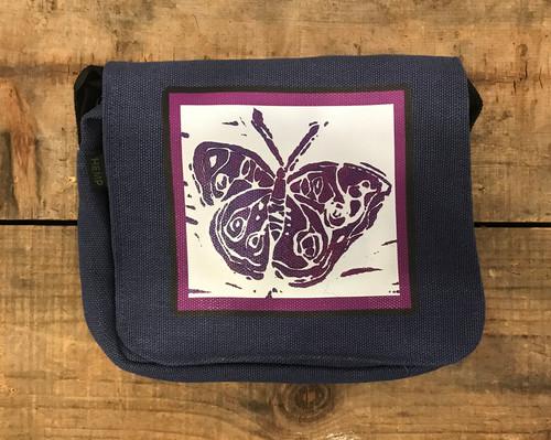 Butterfly (block print) Small & Large Hemp City Slicker Purse
