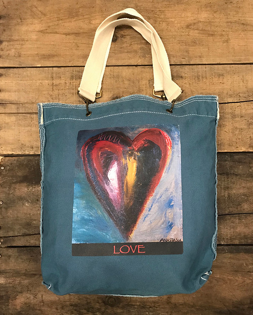 Deep in a dream Heart Cotton Canvas Girly Tote/Purse