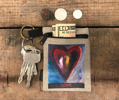 Deep in a dream Heart Hemp Key Coin Pouch