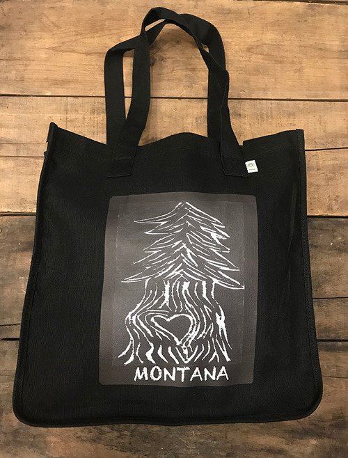 Pine Tree with Heart Montana Hemp Tote