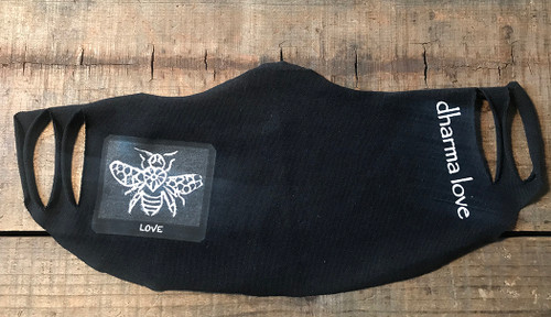 Bee Love (Block Print) Unisex Lightweight Organic Jersey Face Mask