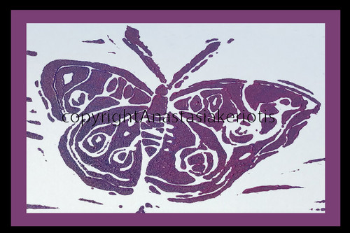 Butterfly (Block Print) Greeting Card