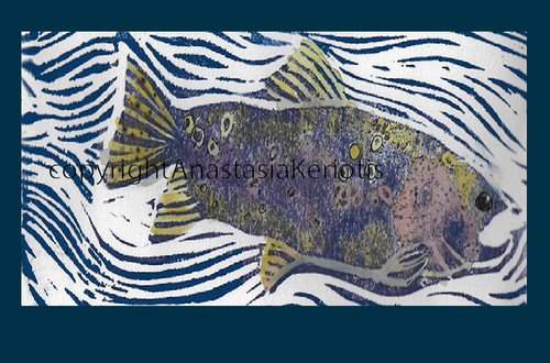 Fish (Block Print) Greeting Card