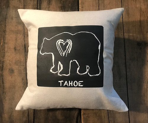 Bear (block print) Tahoe Handcrafted Cotton Pillow