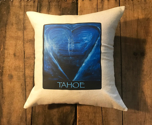 Blue Heart in Tahoe Handcrafted Cotton Pillow