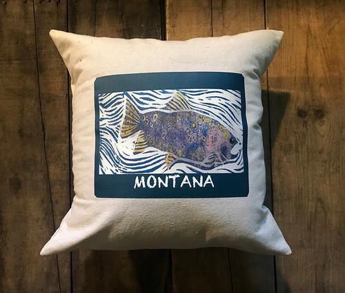 Fish (Block Print) Montana Cotton Pillow