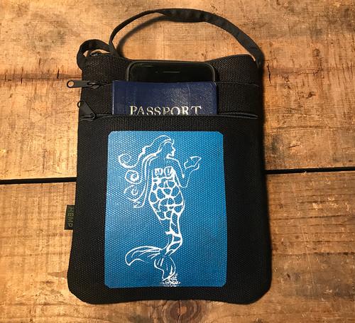 Mermaid (Block Print) Hemp 3 Zip Cross Body Bag/Purse