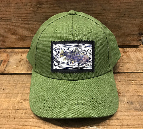 Fish (Block Print) Hemp Baseball Hat
