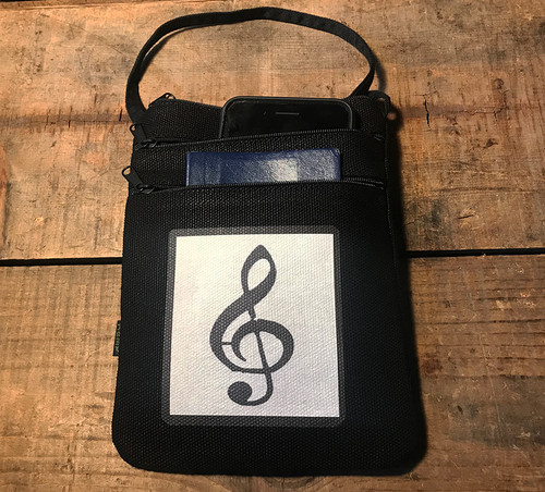 Music Note Hemp 3 Zip Cross Body Bag/Purse