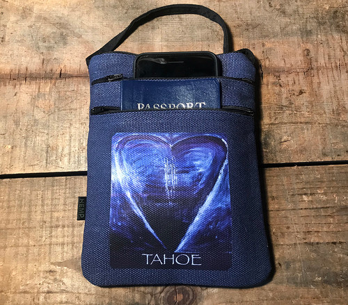 Blue Heart In Tahoe Hemp 3 Zip Cross Body Bag/Purse