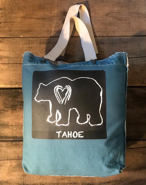Bear (block print) Tahoe Cotton Canvas Girly Tote/Purse